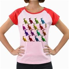 Multicolor Dinosaur Background Women s Cap Sleeve T Shirt