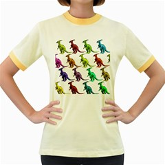 Multicolor Dinosaur Background Women s Fitted Ringer T-Shirts