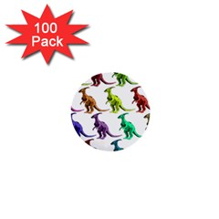 Multicolor Dinosaur Background 1  Mini Buttons (100 Pack)