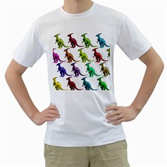 Multicolor Dinosaur Background Men s T-Shirt (White) (Two Sided)