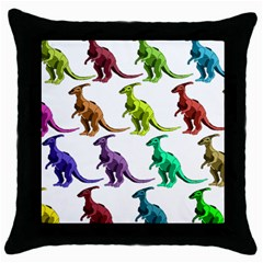 Multicolor Dinosaur Background Throw Pillow Case (black)