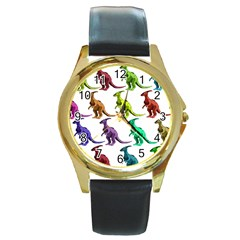 Multicolor Dinosaur Background Round Gold Metal Watch