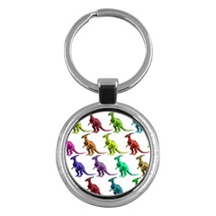 Multicolor Dinosaur Background Key Chains (Round)