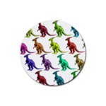Multicolor Dinosaur Background Rubber Coaster (Round)  Front
