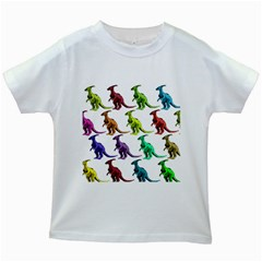 Multicolor Dinosaur Background Kids White T Shirts