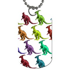 Multicolor Dinosaur Background Dog Tag (One Side)