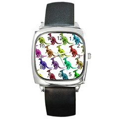 Multicolor Dinosaur Background Square Metal Watch
