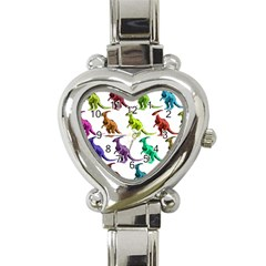 Multicolor Dinosaur Background Heart Italian Charm Watch