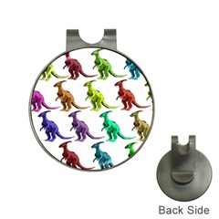 Multicolor Dinosaur Background Hat Clips with Golf Markers