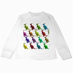 Multicolor Dinosaur Background Kids Long Sleeve T-Shirts