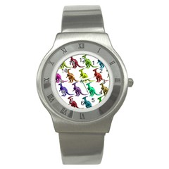 Multicolor Dinosaur Background Stainless Steel Watch