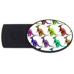 Multicolor Dinosaur Background Usb Flash Drive Oval (4 Gb)