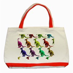 Multicolor Dinosaur Background Classic Tote Bag (red)
