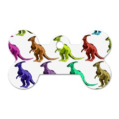 Multicolor Dinosaur Background Dog Tag Bone (One Side)