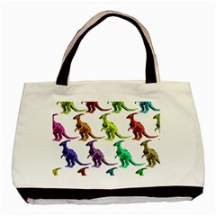 Multicolor Dinosaur Background Basic Tote Bag (Two Sides)