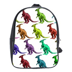 Multicolor Dinosaur Background School Bags(large)
