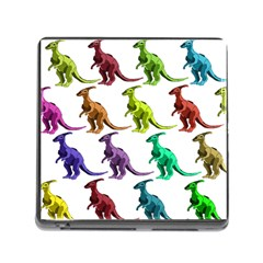 Multicolor Dinosaur Background Memory Card Reader (square)