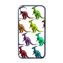 Multicolor Dinosaur Background Apple iPhone 4 Case (Black)