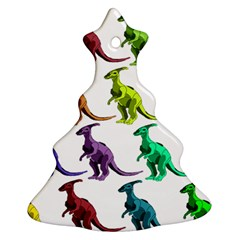 Multicolor Dinosaur Background Christmas Tree Ornament (two Sides)