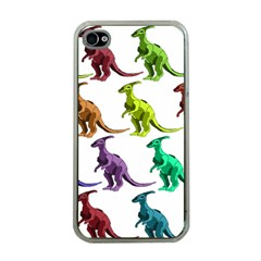 Multicolor Dinosaur Background Apple iPhone 4 Case (Clear)