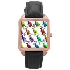 Multicolor Dinosaur Background Rose Gold Leather Watch