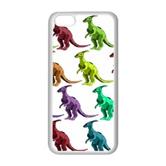 Multicolor Dinosaur Background Apple iPhone 5C Seamless Case (White)