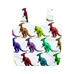 Multicolor Dinosaur Background Full Print Recycle Bags (m)