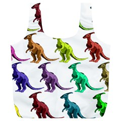 Multicolor Dinosaur Background Full Print Recycle Bags (l)