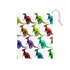 Multicolor Dinosaur Background Drawstring Pouches (medium)
