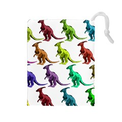 Multicolor Dinosaur Background Drawstring Pouches (Large)