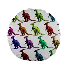 Multicolor Dinosaur Background Standard 15  Premium Flano Round Cushions