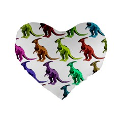 Multicolor Dinosaur Background Standard 16  Premium Flano Heart Shape Cushions