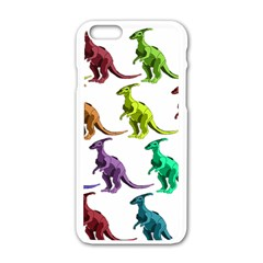 Multicolor Dinosaur Background Apple Iphone 6/6s White Enamel Case