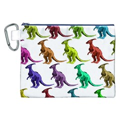 Multicolor Dinosaur Background Canvas Cosmetic Bag (xxl)