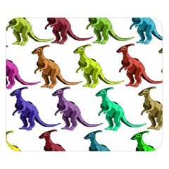 Multicolor Dinosaur Background Double Sided Flano Blanket (small)