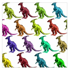Multicolor Dinosaur Background Large Satin Scarf (square)