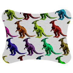 Multicolor Dinosaur Background Jigsaw Puzzle Photo Stand (bow)