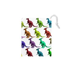 Multicolor Dinosaur Background Drawstring Pouches (XS)