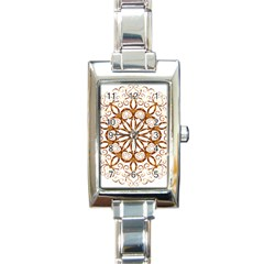Golden Filigree Flake On White Rectangle Italian Charm Watch