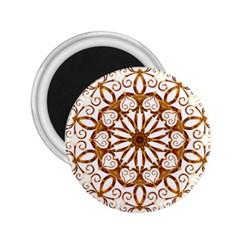 Golden Filigree Flake On White 2 25  Magnets