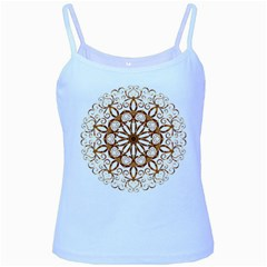 Golden Filigree Flake On White Baby Blue Spaghetti Tank