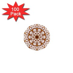 Golden Filigree Flake On White 1  Mini Buttons (100 Pack)