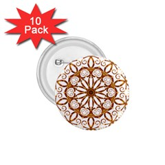 Golden Filigree Flake On White 1 75  Buttons (10 Pack)