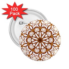 Golden Filigree Flake On White 2 25  Buttons (100 Pack)