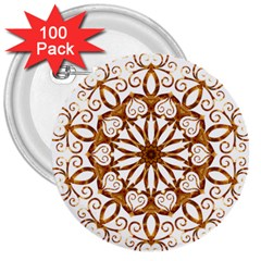 Golden Filigree Flake On White 3  Buttons (100 pack)
