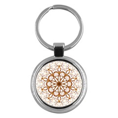 Golden Filigree Flake On White Key Chains (round)