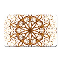 Golden Filigree Flake On White Magnet (rectangular)