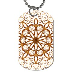 Golden Filigree Flake On White Dog Tag (one Side)