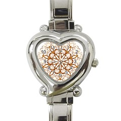 Golden Filigree Flake On White Heart Italian Charm Watch
