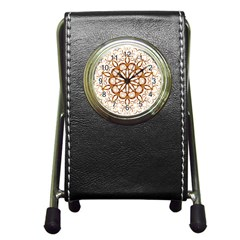 Golden Filigree Flake On White Pen Holder Desk Clocks